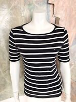 Tommy Hilfiger Blue White Striped Nautical Short Sleeve Shirt Top Size Small