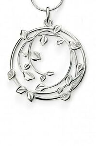 """Elements Silver Large Swirl Pendant with Pave Clear CZ Leaves,30""""Chain, P4150C"""