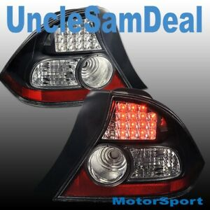 04 05 HONDA CIVIC COUPE CLEAR LENS BLACK RED LED TAIL LIGHTS DIRECT FIT PAIR
