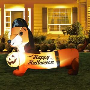 Halloween Inflatables Dog With A Pumpkin Below Up Yard Decoration Clearance