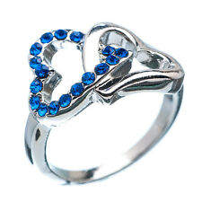 1.70 Ct Round Cut Blue Sapphire 18K White Gold Plated Wedding Ring Size 5.75