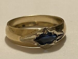 14k Yellow Gold and Genuine Sapphire stone / GYPSY Ring Band.