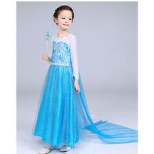 2018 Frozen Elsa Costume Princess Party Girls Dress with Crown and Wand 2-3
