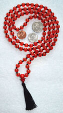 Red Jade 6mm 108+1 Hand Knotted Japa Chakra Mala Beads Necklace - Energized