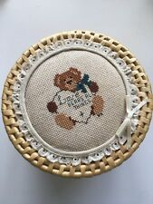 Vintage Sewing Box Cross Stitched Bear Lid Wicker Basket Storage 6.5""