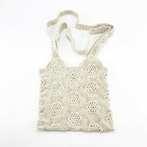 Handmade Crocheted Granny Square Shoulder Bag Purse NEW Neutral Sand