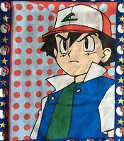 Vintage Pokemon Ash Fabric Panel Cotton Blend Sheeting TM Sew Craft Nintendo
