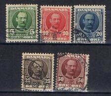 Denmark 1907 Frederik Viii selection to 50 ore Sg 121-25, 128 Used