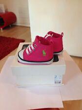 Polo Ralph Lauren Girl's Rosa Con Pony Verde Zapatillas Zapatos Talla 1.5 Reino Unido Nuevo Y En Caja