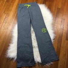 Zumba Wear Lounge Pants Medium Gray Lime Green