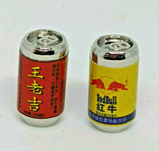 2 X Dollhouse Miniature Asian Red Bull & Other Drink Can Groceries Prop 1:12