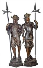 """Spanish Conquistadors"" Bronze Life Size Statue By E. Picault - Soldiers Guards"