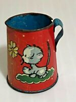 Vintage Art Deco Kitten Flower Tin Litho Pitcher Antique Play Toy - See Pics!!!
