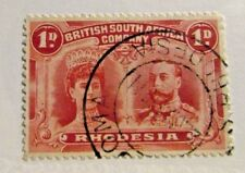 RHODESIA #102 Θ used, 1D postage stamp, cds cancel  + 102 card