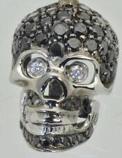Spectacular 18k white gold,White and Black Diamonds Memento Mori Skull pendant