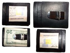 Men's Money Clip, Credit card/ID holder, Leather wallet with metal money clip BN