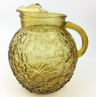 Vintage Anchor Hocking Lido Milano Amber Gold Glass Ball Pitcher