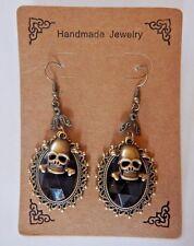 PIRATES GEM EARRINGS Jolly Roger Skull & Crossbones goth steampunk halloween 1E