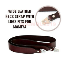 Wide Genuine Leather Neck Strap With Lugs For Mamiya RB67 RZ67 Dark Brown Camera