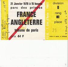 BILLET  MATCH RUGBY FRANCE / ANGLETERRE  JANVIER 1978