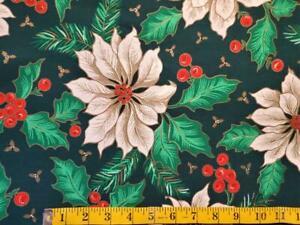 "6.75 Yds VTG Poinsettia Christmas Floral Print Cotton 60"" Wide Tablecloths/Decor"