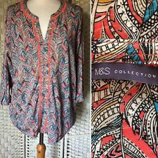 M&S Women's Coral Mix Patterned Roll Tab Sleeve Cotton Blend Top UK Size 20