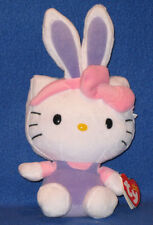TY HELLO KITTY EASTER BUNNY BEANIE BABY with PURPLE EARS - MINT with MINT TAGS