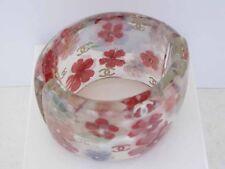 $2350 Chanel 10P AUTH NIB CC Logo Pink Blue Floral Clear Lucite Cuff Bracelet