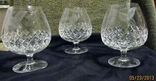 CRYSTAL BRANDY SNIFTERS WITH ETCHED GRAPE CLUSTERS, LEAVES, AND VINES  SET OF 3