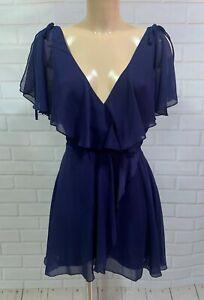Beautiful Ex High Street Navy Chiffon Cape Floaty Dress Size 6 -10