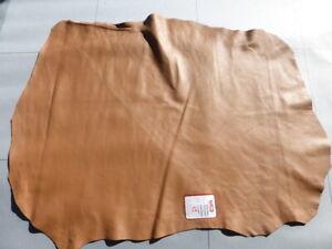 Lambskin sheepskin leather hide Caramel Bonded to Black suede Double Sided