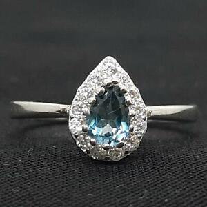 World Class .60ct London Blue Topaz & Diamond Cut White Sapphire 925 Silver Ring