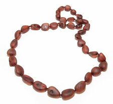 Genuine Raw Baltic Amber Beans Necklace for Adult Cherry 46 cm