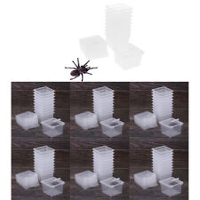 60Pieces Plastic Clear Feeding Box Insect Reptile Breeding Cage Container