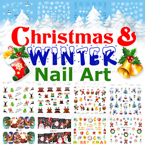 Christmas Nail Art Water Decals, Nail Stickers, Nail Decals, Winter, Snowflakes