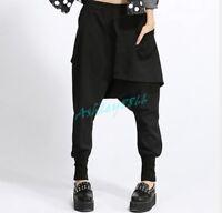 Women Carpenter Loose Harem Pants Low Drop Crotch Leisure Trousers Hot Chic Fall