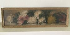 """Antique Mum Flower Canvas Oil Painting 37.5"""" X 11"""" Floral Victorian Old Framed"""