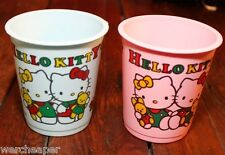 "Vintage Sanrio Hello Kitty Pink And Blue Drink Cups 3"" 1990"