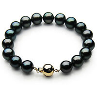 New 9-11mm Black Tahitian Diamond Pearl Bracelet Pacific Pearls® Thank You Gifts
