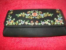 Embroidered Floral Cloth Wallet - Snap Closure - Zippered Pocket - Opened Pocket