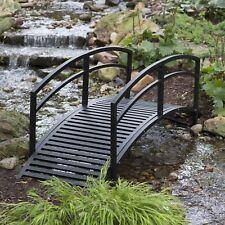 Black 8-Foot Metal Arched Rails Garden Bridge Outdoor Home Furniture Decor Yard