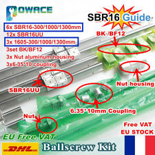 【FR+EU】SBR16 Linear Rail Guide+ Ballscrew SFU1605 L300/1000/1300mm+Nut+ BK/BF12