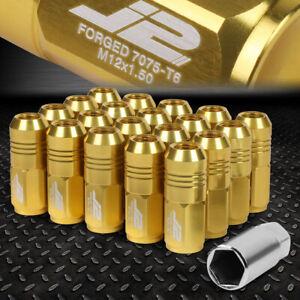J2 ENGINEERING 7075 ALUMINUM M12X1.5 20PC 50MM CLOSE-END LUG NUT+ADAPTER GOLD