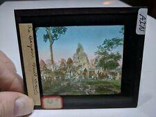 Colored Glass Magic Lantern Slide AIN Cambodia Angkor Buddhist Bayon Ground View