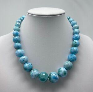 "Larimar Necklaces beads  (98.07 grams) -15.5"" Long"