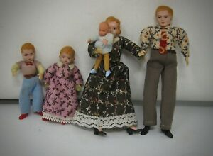 Vintage Caco Germany doll house family Mother Father Son daughter and baby
