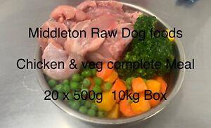 Dog Food Frozen Chicken & veg complete meal 20x500g bags 10kg box BARF RAW DIET