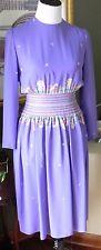 Vintage Jerry Silverman by Saulino Purple Paisley Dress 8? 33 Inch Bust