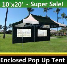 10'x20' Enclosed Pop Up Canopy Party Folding Tent Gazebo - Black White - E Model