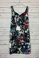 Leifnotes Anthropologie Women's Size 12 Black Floral Sheath Spring Summer Dress